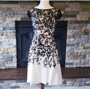 Black and white Lace Cap sleeve dress